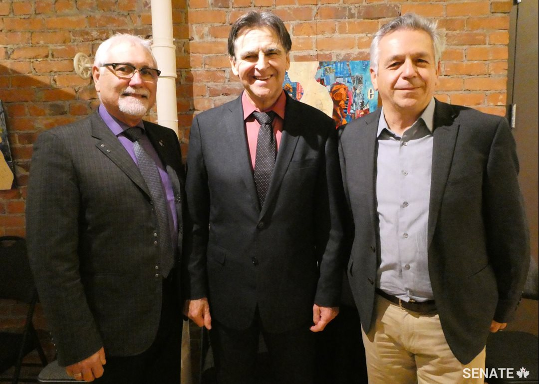 From left to right, Luc Doucet, President of Richelieu International and Executive Director of the New Brunswick Seniors' Association, Senator Paul E. McIntyre, Member of the Committee on Official Languages, and René Légère, Executive Director of the Aberdeen Cultural Centre, at the Aberdeen Cultural Centre in Moncton on October 25, 2018.