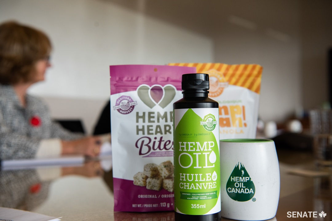As soon as they arrived at the offices of Hemp Oil Canada, the senators saw the many ways that hemp can be used; even the shelving and walls are made from this raw material. They also saw the range of processed foods that could be produced from hemp.