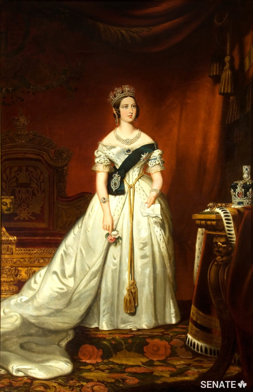This state portrait of Queen Victoria, painted by British artist John Partridge in 1842 and brought to Canada in 1847,	 is perhaps the most recognizable work of art displayed in the Senate.