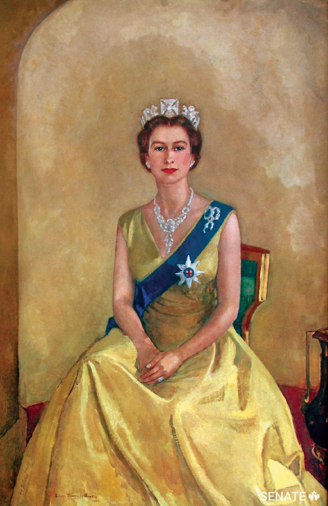 Montreal artist Lilias Torrance Newton painted this 1957 portrait of Queen Elizabeth II, which is on loan from the National Capital Commission's Crown Collection of the Official Residences and hangs in the main entrance of the Senate of Canada Building. (Image courtesy of the National Capital Commission)