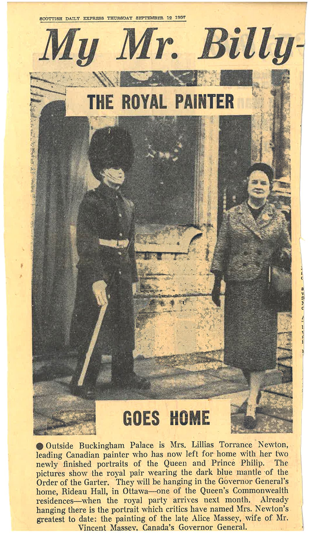 Lilias Torrance Newton's visit to Buckingham Palace to paint portraits of the Queen and Prince Philip made headlines in 1957, including in this edition of the Scottish Daily Express.