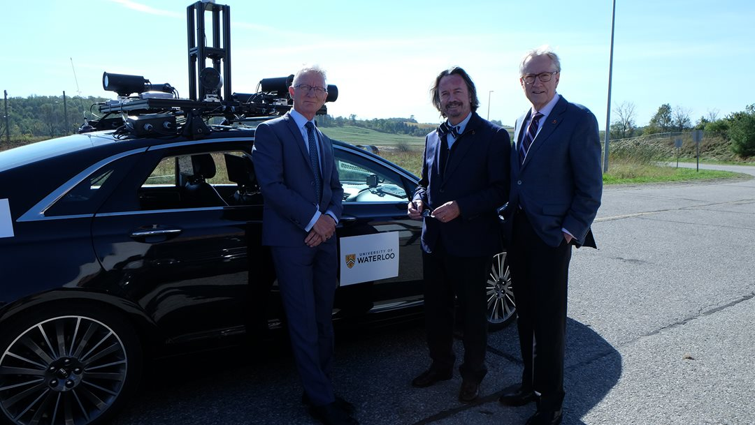 Senator Pierre-Hugues Boisvenu, Senator Dennis Dawson and former senator Art Eggleton during a fact finding mission at the University of Waterloo in 2017. Senator Dawson is a member of the Committee on Transport and Communications, which tabled a report that found that Canada is ill-prepared for the arrival of automated vehicles.