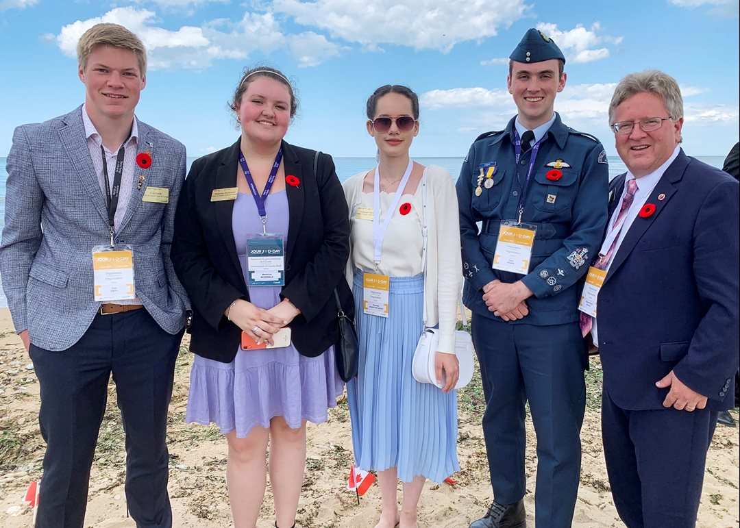 Thursday, June 6, 2019 — Senator Rob Black is joined in Normandy, France, by four Canadian youth delegates selected to accompany a government delegation to France to mark the 75th anniversary of D-Day and the Battle of Normandy. The delegation left for France on June 2 and spent a week at critical sites. The week included nine ceremonies at war cemeteries and memorials including Juno Beach on June 6th. From left to right, Cole Smith from Saskatchewan, Madeline McDonald and Khamael Johnston from British Columbia, and Jace Knapton from Alberta.