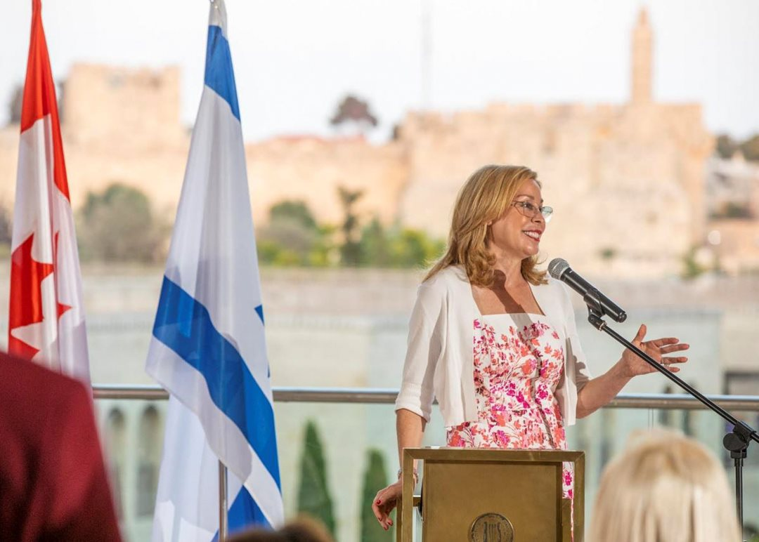 Monday, June 17, 2019 — Senator Linda Frum speaks at a reception hosted by the Centre for Israel and Jewish Affairs (CIJA) and the Embassy of Canada to Israel to celebrate the honorary doctorate she received from the Hebrew University of Jerusalem. Senator Frum was lauded as a role model for women in Canada and around the world.