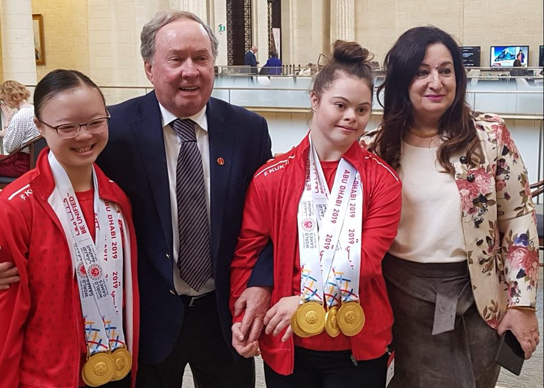Wednesday, May 29, 2019 — Senators Jim Munson and Salma Ataullahjan meet Kimana Mar and Sophie Lacourse-Pudifin, two Team Canada champions who won seven medals each in rhythmic gymnastics at the Special Olympics World Games in Abu Dhabi, United Arab Emirates (UAE).