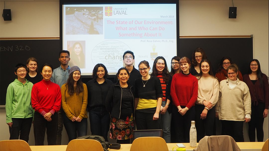 Senator Rosa Galvez meets with third-year students at the University of Toronto following a lecture she gave on domestic environmental policy.