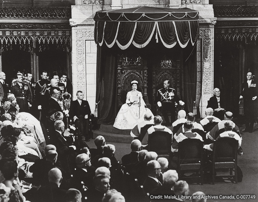Queen Elizabeth II during the opening of the 23rd Parliament in 1957 in the Senate Chamber