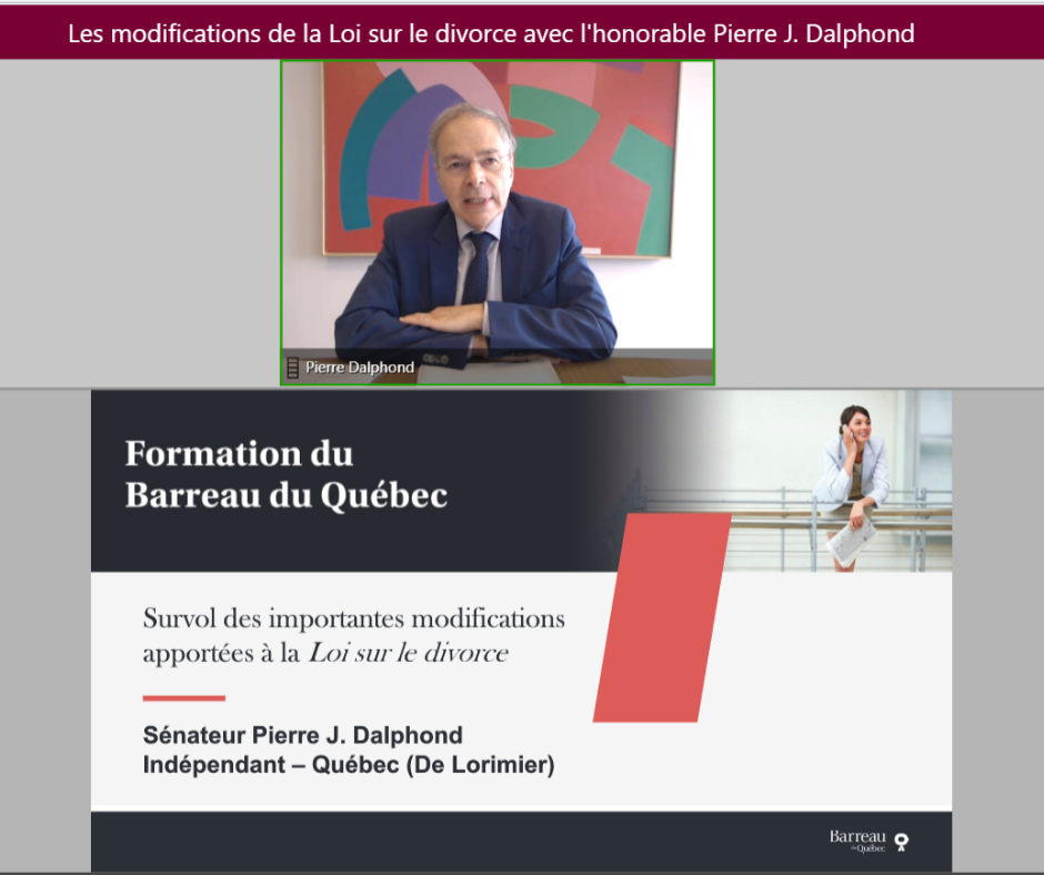 Tuesday, June 30, 2020 — Senator Pierre J. Dalphond gives a webinar about reforms to the Divorce Act to almost 100 lawyers from Quebec.