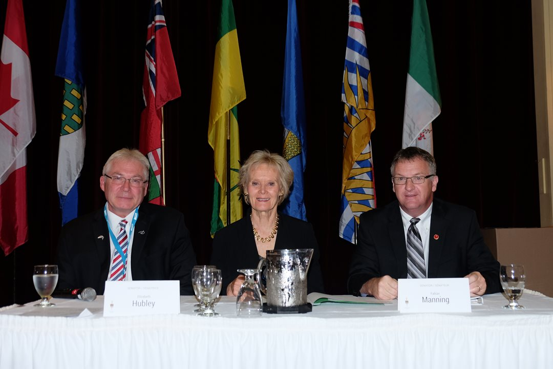 Senators Elizabeth Hubley (centre) and Fabian Manning (right) appeared at the Aquaculture Canada and Cold Harvest 2016 Conference and Tradeshow in St. John's, NL.
